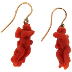 Coral Angel 9 Karat Yellow Gold Drop Earrings