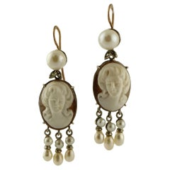 Finely Carved Cameo, Pearls Diamonds 9 Karat Rose Gold and Silver Retro Earrings