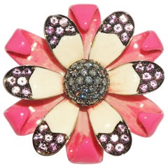 Paolo Piovan Diamonds, Pink Sapphires, Tsavorites, Flower Cocktail Ring Gold