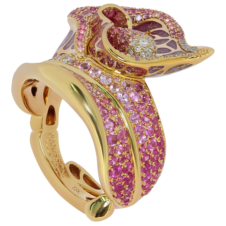 Pink Sapphire Diamonds Colored Enamel 18 Karat Yellow Gold Ring