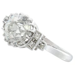 Vintage 1940s 3.00 Carat Diamond and White Gold Cocktail Ring