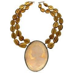 Cameo 800 Karat Silver Citrine Beans Pendant Necklace