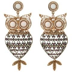 Owl 9 Karat Yellow Gold Diamonds Drop Earrings