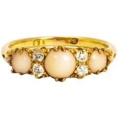Victorian 18 Karat Gold Coral and Diamond Three-Stone Ring