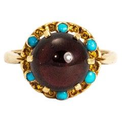 Edwardian Cabochon Garnet and Turquoise 9 Carat Gold Ring