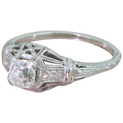 Art Deco 0.71 Carat Old Cut Diamond Engagement Ring