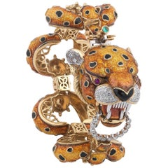 Frascarolo Polychrome Enamel and Diamond Tiger Bracelet