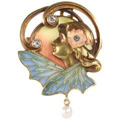 Art Nouveau Plique Ajour Enamel Old Mine Diamond Pearl Lady Wings Pendant Brooch