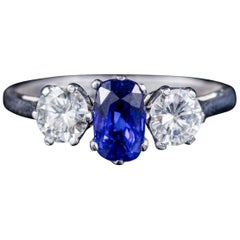 Antique Edwardian Sapphire Diamond Trilogy Ring 18 Carat Gold, circa 1915