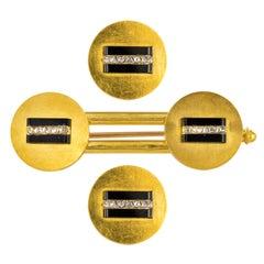 19th Century Onyx Diamonds 18 Karat Yellow Gold Vest Buttons Brooch Set