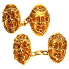 French Antique 18 Karat Yellow Gold Greek Comedy Mask Tragedy Theater Cufflinks