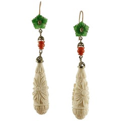 White Hard Stone, Green Agate, Red Coral, Diamonds, Gold Silver Dangle Earrings