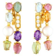 Bulgari Allegra Diamonds Pearl and Multiple Gemstones Yellow Gold Omega Earrings