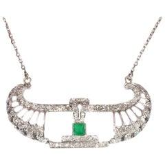 Stunning Platinum Art Deco Diamond Pendant on Chain