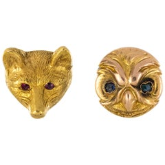 19th Century Forest Animals Stud Earrings