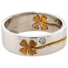 Crivelli 18 Karat Gold Diamond Four-Leaf Clover Ring