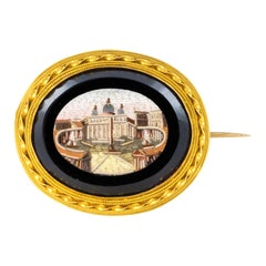 19th Century Micromosaic 18 Karat Yellow Gold Brooch
