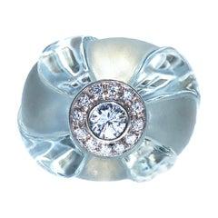Berca 0.63Kt Diamond 60Kt Natural Hand Inlaid Hand Engraved Aquamarine Ring