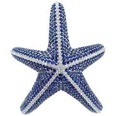 Fabulous Whimsical Nautical Blue Sapphire and Diamond Starfish Cuff Bracelet