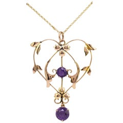 Art Nouveau Amethyst Heart and Flowers Pendant Necklace circa 1900