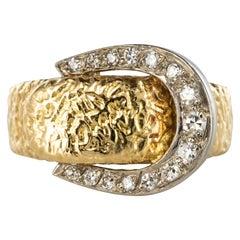 1900s Diamonds 18 Karat Yellow Gold Belt Ring