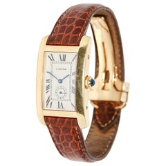 Cartier Tank Americaine 18 Karat Gold Ladies Watch with Original Certificate