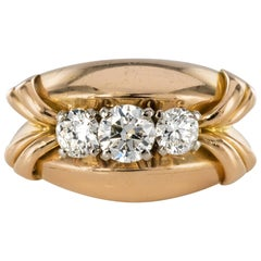 1950s 1.20 Carat Diamonds 18 Karat Rose Gold Tank Ring