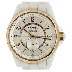 Chanel Ladies Rose Gold, White Ceramic J12 Automatic Wristwatch Box and Papers