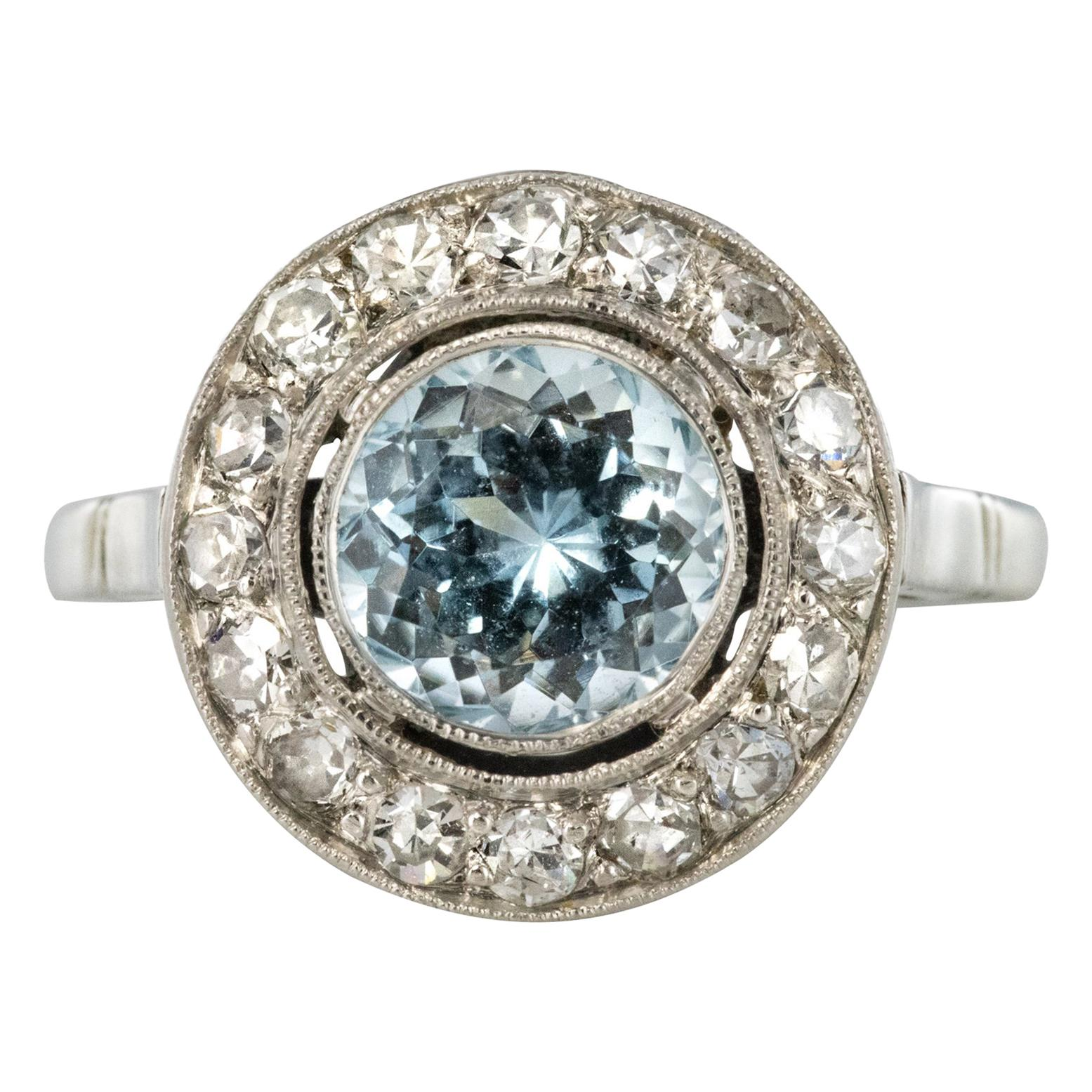 1848ecfa51 1930s Art Deco 1.33 Carat Aquamarine Diamonds 18 Karats White Gold Round  Ring at 1stdibs