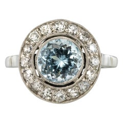 1930s Art Deco 1.33 Carat Aquamarine Diamonds 18 Karats White Gold Round Ring