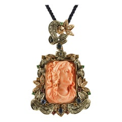 Engraved Orange Coral, Diamonds, Rubies, Blue Sapphires, Gold and Silver Pendant