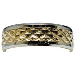 Men's 14 Karat White and Yellow Gold Patterned Wedding Band