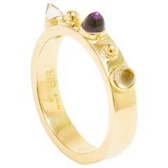Dubini Punta di Diamante Cabochon Amethyst Citrine 18 Karat Yellow Gold Ring