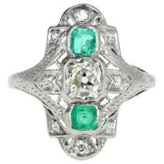 Art Deco .80 Carat Old Mine Cut Diamond and Emerald Ring
