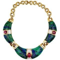 David Webb Torque Necklace Azure Malachite and Rubies Necklace