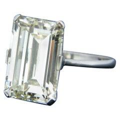 HRD Certified 6.55 Carat Emerald Cut Diamond Platinum Ring