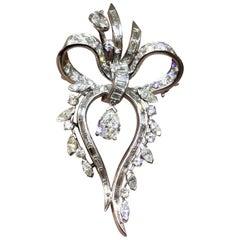 1950s Retro Deco Platinum 3 Carat G/VS Diamond Brooch Pin Necklace Pendant