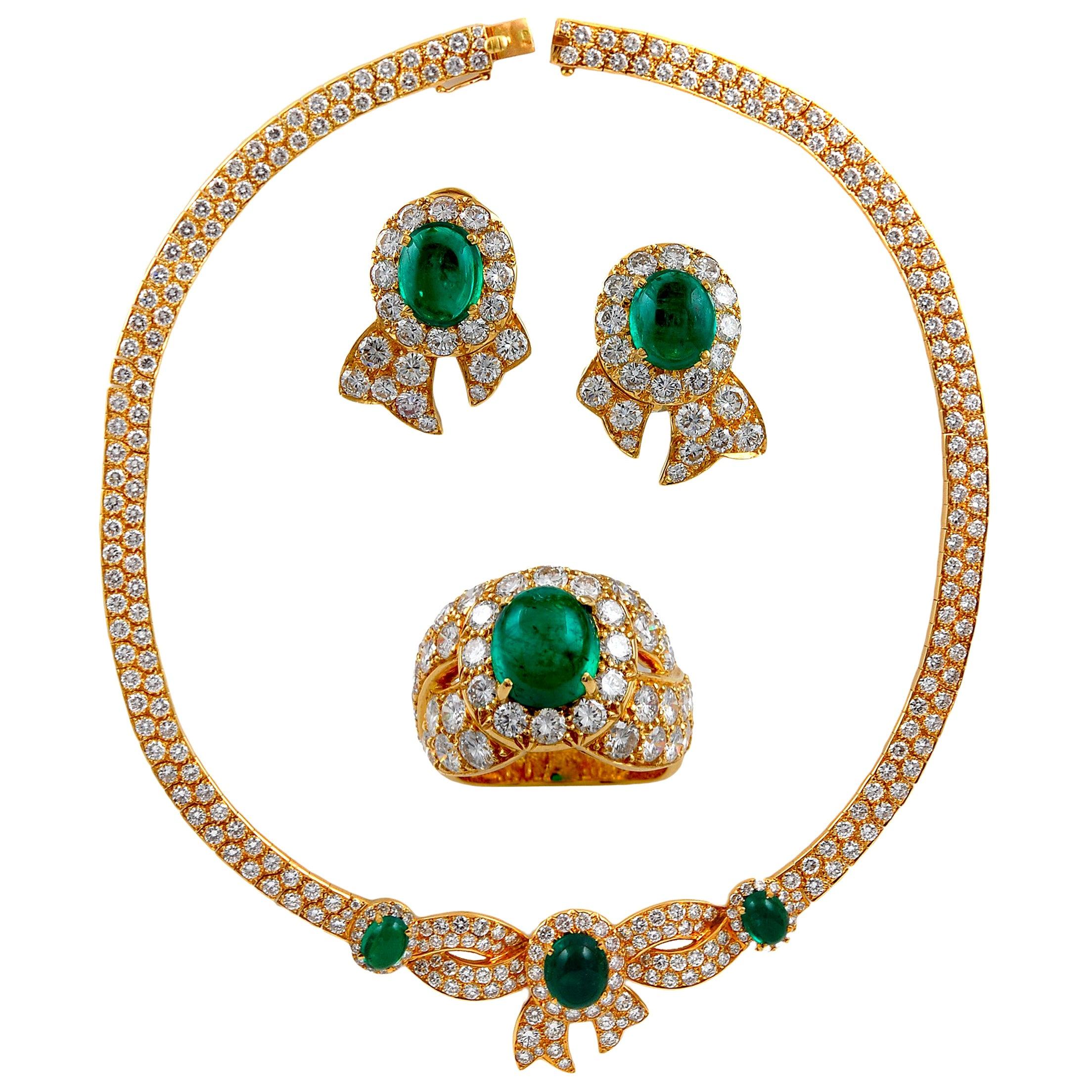 Mauboussin Cabochon Emerald Suite Necklace