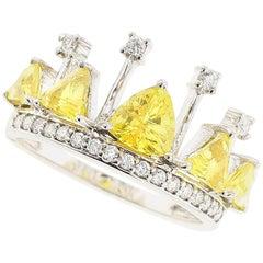 Yellow Sapphire and Diamond Crown Ring 18 Karat White Gold