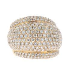 3.32 Carat GVS 249 Round Diamond Bombe Ring 18 Karat White Gold
