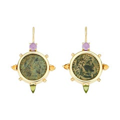 Dubini Constantine Ancient Bronze Coin Amethyst Citrine Peridot Gold Earrings