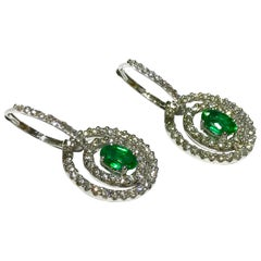 Crivelli Emerald and Diamond Earrings Drop Style in 18 Karat White Gold