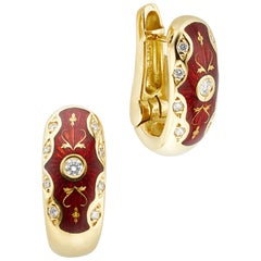 Faberge Victor Mayer Collection 18 Karat Gold Red Enamel and Diamond Earrings