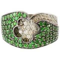 Beautiful Solid 14 Karat Gold Genuine Tsavorite Garnet and Natural Diamond Ring