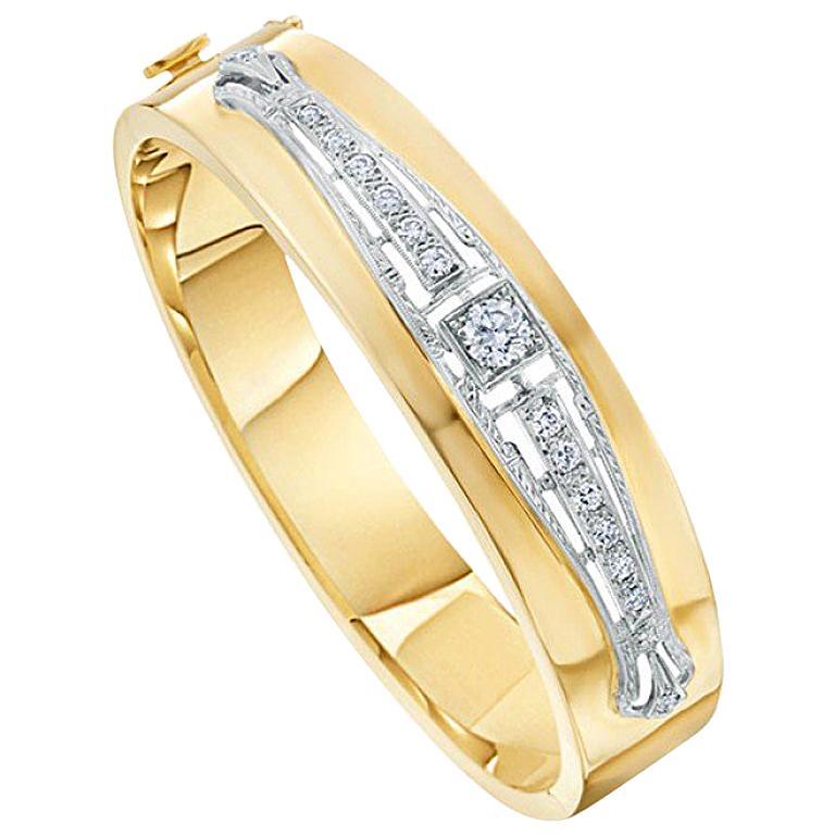 Art Deco Inspired 14 Karat White and Yellow Gold 1.0 Carat Diamond Bangle For Sale