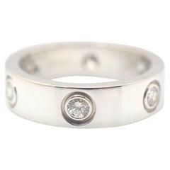 Cartier 6 Diamond Love Ring 18 Karat White Gold 0.45 Carat