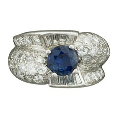 """1950s Sapphire and Diamond Ring in Platinum """"To Alice from Paul with Love"""""""