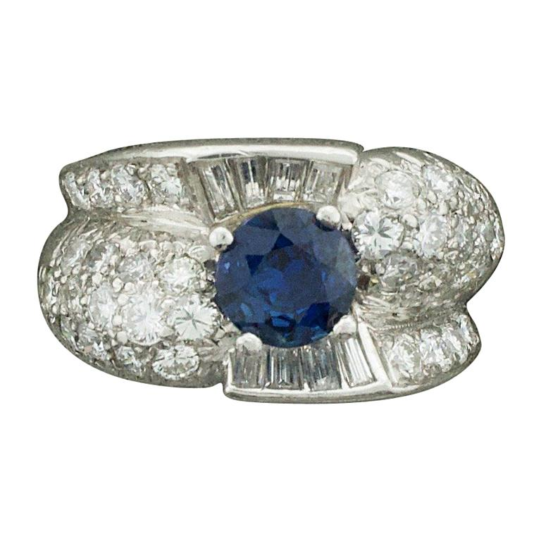 """1950s Sapphire and Diamond Ring in Platinum """"To Alice from Paul with Love"""" For Sale"""