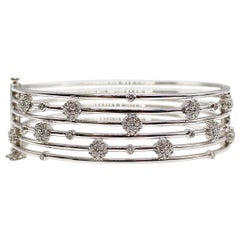 Rosette Diamond White Gold Bangle Bracelet