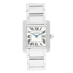 Cartier Tank Francaise 18 Karat White Gold Midsize Watch WE101851
